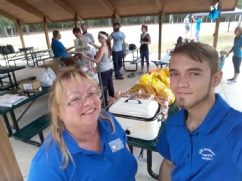 Rhonda and Jon Lucas delivering Sloppy Joes and chips for the Huntington Disease Walk 2018, in Irmo, SC.